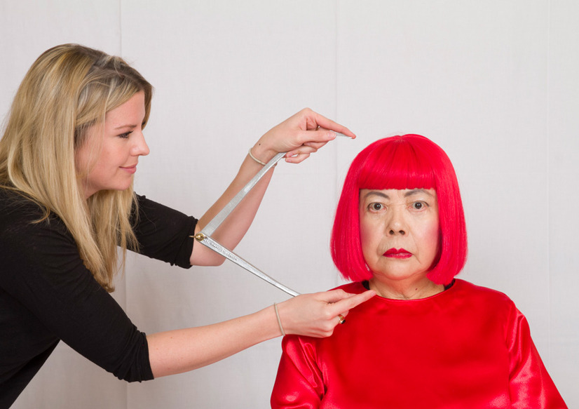 草間彌生(計測の様子)- (C) The images shown depict wax figures created and owned by Madame Tussauds.