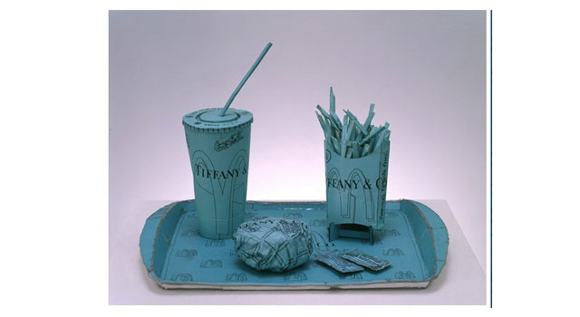 Tiffany Value Meal, 2000 ink on printed paper and hot glue 30.0 x 45.0 x 32.0cm