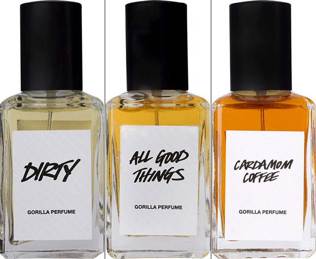 「Gorilla Perfume」コアレンジ(左から「DIRTY」「ALL GOOD THINGS」「CARDAMOM COFFEE」)