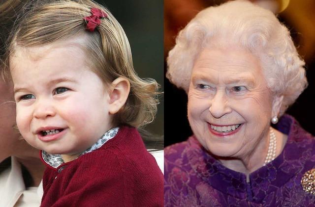 シャーロット王女&エリザベス女王-(C)Getty Images