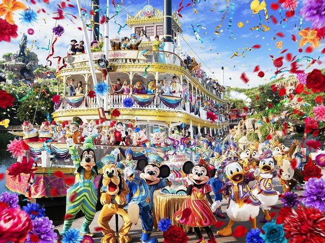 「蒸気船マークトウェイン号」を背景に、35周年のコスチューム姿のミッキーマウスやディズニーの仲間たちが勢ぞろい☆
