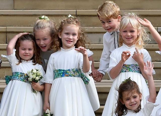ページボーイを務めたジョージ王子とブライズメイドを務めたシャーロット王女ら (C) Getty Images
