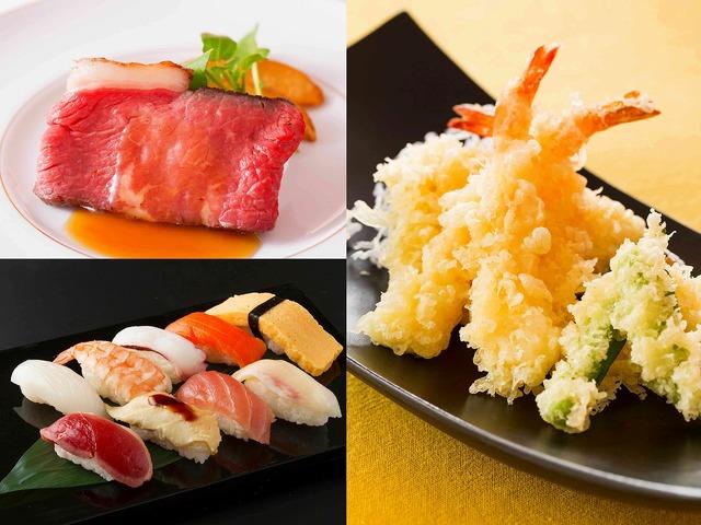 「フードライブメニュー」(写真左)ジューシーなローストビーフや、サクサクの天ぷら、にぎり寿司が登場!