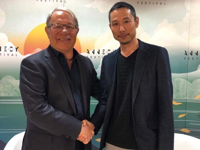 「スタジオポノック」代表、西村義明氏とオリンピック文化遺産財団ディレクター、フランシス・ガベ氏