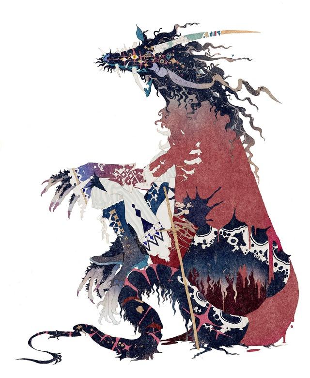 秋屋蜻一による竜のキャラクターデザイン『竜とそばかすの姫』(C)2021 スタジオ地図